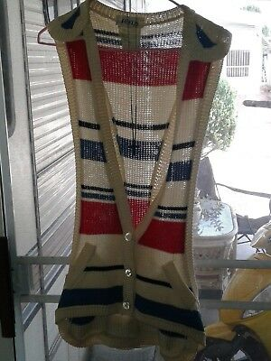 Bernard PERRIS  VEST  women knit sweater Paris flag blue white red France top 6