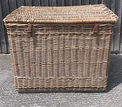 Giant Antique Wicker Basket Industrial,Linen,Logs,toy..Great Original Condition!