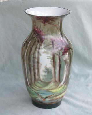 Antique Bristol Glass Vase - Hand Painted Woodland Scene With Duck