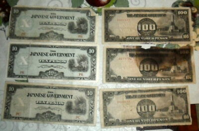 JB RFM 60693 Lot of 6 The Japanese Government Philippines Occupation Currency 10