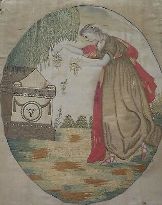 Antique Georgian Regency Embroidery Memorial Picture - Lady Beside A Tomb