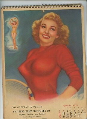 1956 T.N. Thompson Complete 12-Month Spiral Bound Pin-Up Calendar Marilyn Monroe