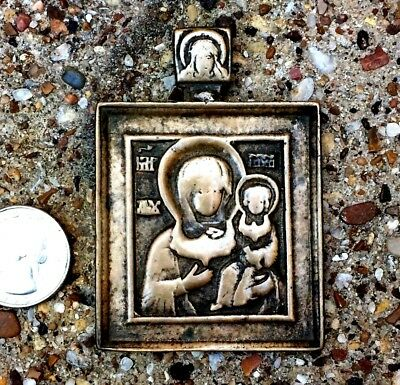 Ancient Late Medieval Icon Bronze Square Breast Medallion Madonna & Child Russia