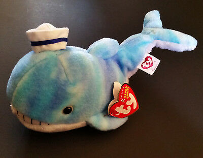 """Original TY Beanie Baby Babies Retired """"Captain"""" Swing Tag Blue Whale Toy Plush"""