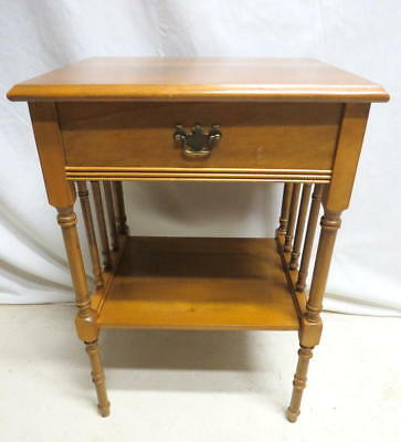 Vtg Mid Century Maple Nightstand Night Stand Bedside Cabinet Spindle Turned Legs