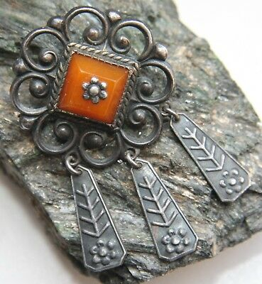 Antique Vintage Ornament Silver Brooch Pin Fibula With Amber And Pendants