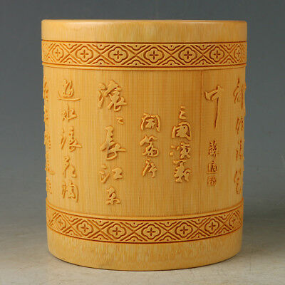 Chinese Antique Bamboo Brush Pot Carved Romance of the Three Kingdoms RB019+a