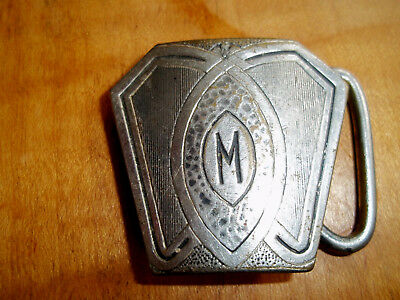 Vintage Art Deco Silver FRONT Belt Buckle c EARLY 1900's - signed PERFECT  GRIP