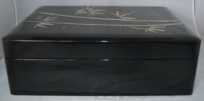 Vintage Black Laquer Box Mother of Pearl Jewelry Trinket Box