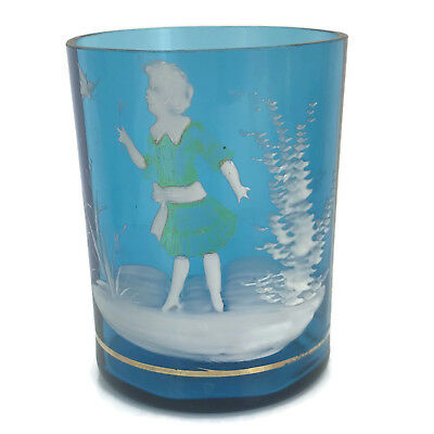 Antique Victorian Art Glass Tumbler Mary Gregory Blue White Enamel Girl With Net