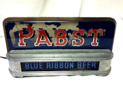 Pabst Blue Ribbon beer sign lighted register topper ROG reverse painted glass