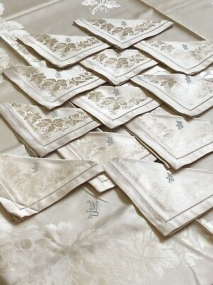"Vtg Double Damask Linen Cream Colored Monogrammed Tablecloth 72x76 W/15"" Napkins"