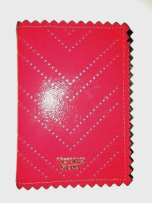 VICTORIAS SECRET LEATHER PASSPORT ID HOLDER RED TRAVEL CASE COVER Free Shipping