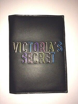 new styles 6535b b0a2c VICTORIAS SECRET LEATHER PASSPORT ID HOLDER BLACK TRAVEL CASE COVER Free  Ship