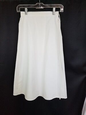 Vintage Haphazard Solid White Traditional Style Wrap Skirt Sz S #e111