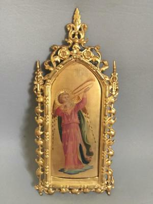 Fine Antique Painting Italian Icon Gothic Roccoco Gilt Frame Angel Nr