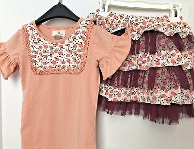 GIRLS SIZE 6 Taylor Joelle Designs Make Your Wish Outfit Set Shirt Skirt Ruffles