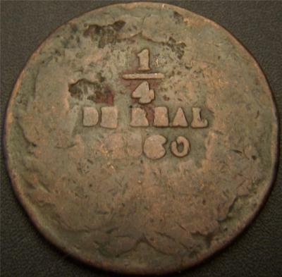 1860 1/4 Real Mexico - Most of the Major Details are Still Outlined