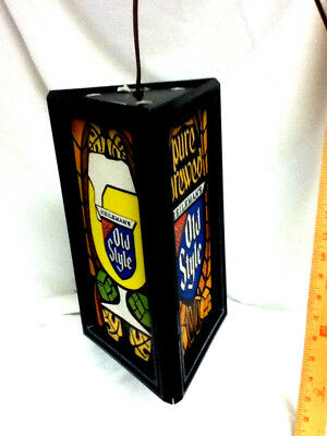 Old Style beer sign lighted hanging bar light Special export 3 sided Heileman
