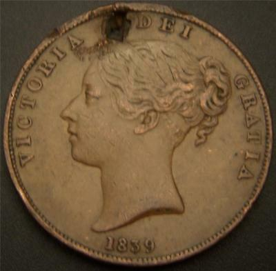 1839 Penny Isle of Man - Hair and Stocking Details Still Show - Holed