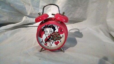 """Betty Boop Extra Large 11"""" Red Metal Alarm Clock Hearts and Flowers *2004"""