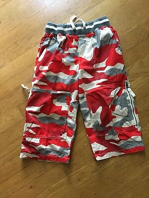Size 10 Mini Boden Boys Red/Gray Camouflage Techno Shorts-Excellent!