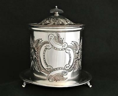 Victorian Chelteham Sheffield England Embossed Repousse Tea Caddy Biscuit Box
