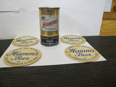 Hamm's Preferred Beer Flat Top Can And Coasters-St. Paul Minnesota-3.2 Alcohol