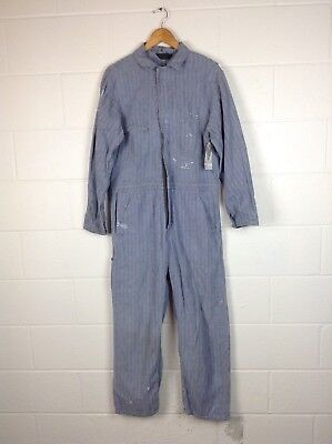 Vintage 40's Herringbone Denim Work Wear Coveralls