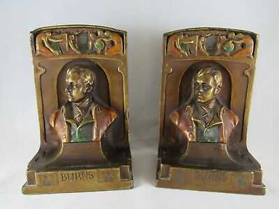 "Pompeian Bronze Company Robert Burns Bookends 7"" Tall Rare"