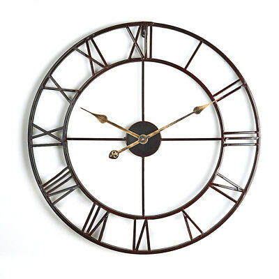 Large Outdoor Garden Wall Clock Big Roman Numerals Giant Open Face Metal 58 Cm