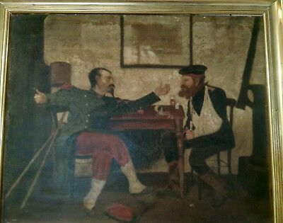 oil on canvas painting. soldier and sailor in conversation