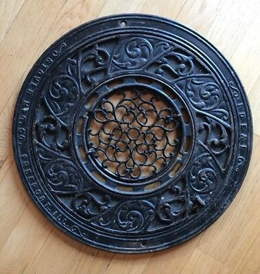 Antique IDEAL Complete Round Vent Register Ornate Cast Iron Architectural VTG