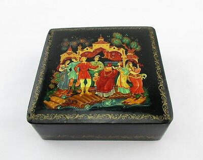 Vtg Russian Hand Painted Black Lacquer Jewelry Trinket Box Signed Palace Staff