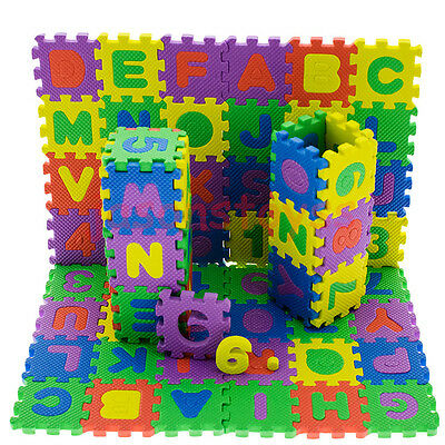 36 Pcs Kids Educational Alphanumeric Puzzle Mats Small Size Baby Child Toy Gift