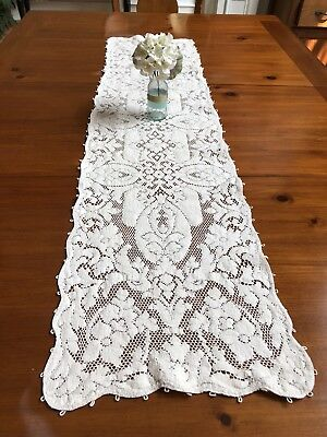 Antique Vintage Lace Table Runner Dresser Scarf Cream Heavyweight 13x52 Floral