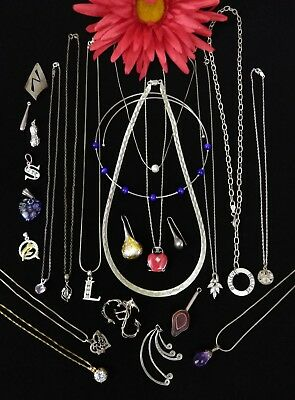 Sterling Silver (LOT) Necklaces Pendants ~ 95 grams Not Scrap / Wear ~ Vtg ~ 24p