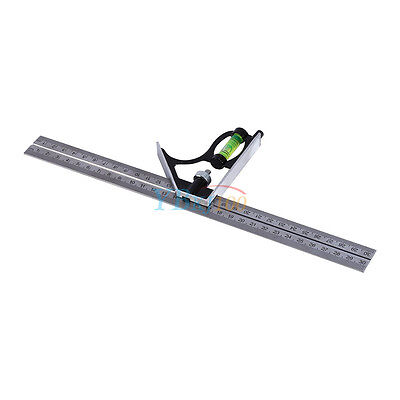 "300mm (12"")Adjustable Engineers Combination Try Square Set Right Angle Ruler wtt"