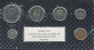 Norway 1974 Soft Plastic Uncirculated Set - Packaged at Kongsberg Royal Mint!