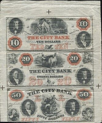 Nashville, Tennessee Uncut Sheet $10, $20, $50 Obsolete Notes The City Bank