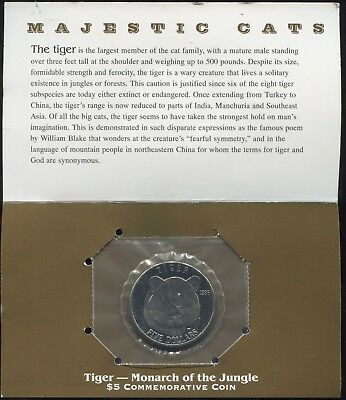 1996 Marshall Islands $5 Majestic Cats - Tiger - Monarch of the Jungle
