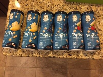 GERBER Graduates Puffs Variety  6 Pack Baby Cereal Snacks Banana Blueberry Apple