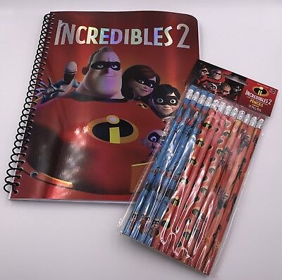 Incredible 2 Movie Notebook Paper 12 Pk #2 Pencils Back To School Supplies New