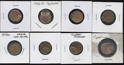Error Coins! Eight Set of Linear OffCenter Lincoln Cents From About 5%-90% Off