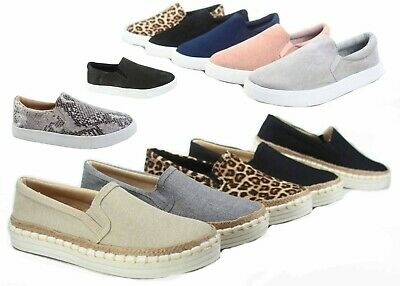 NEW Women's Espadrilles Classic Slip On Flat Round Toe Deck Shoes Size 5.5 - 11