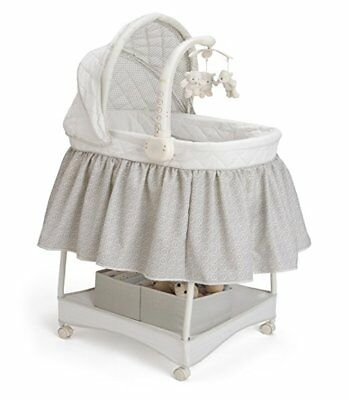 Delta Children Gliding Deluxe Bassinet, Silver Lining with Music and Nightlight