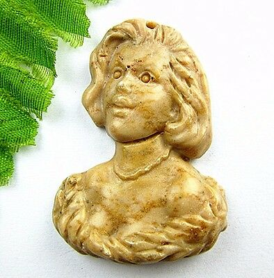 Beautiful unique brown natural stone carved Female head pendant bead Vk3702