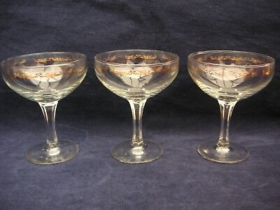 3 Champagne/Cocktail Glasses clear with gold detail  vintage