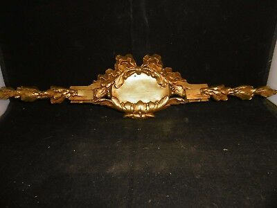 Antique French solid gilded bronze ormolu cartouche, garniture. c1880