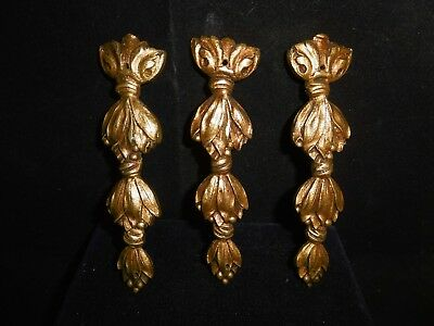 Trio of antique French solid gilded bronze ormolu cartouches, garnitures. c1880